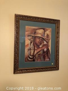 African American Boy with Birds Print Titled Son Son by Essud Fungcap '94