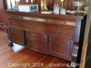 Empire Style Antique Server With C Scroll Leg On Casters