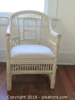 Small Accent Wicker Chair Upholstered Seat