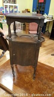 Antique Cigar Humidor Smoking Stand Table