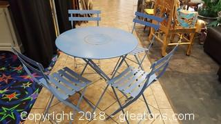 Metal Folding Table W/4 Chairs Vintage Outdoor Furniture