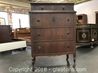 Antique Chest Of Drawers On Casters Dovetails Original Hardware