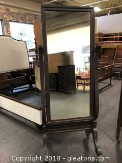 Full Length Mirror Antique Replica Solid Hardwood Gorgeous Detail On Casters