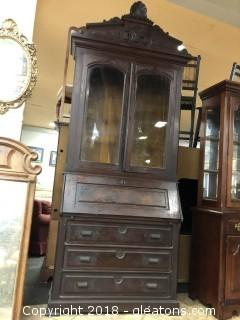 Antique Secretary / Tall Cabinet Two Pieces Stunning Original Hardware Hand Carved Detail