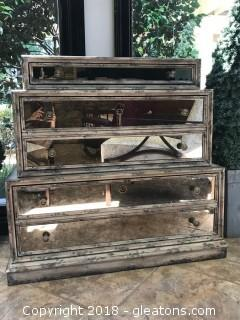 High-End Mirrored Glass Chest of Drawers