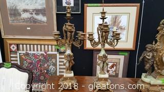 Set Of Brass / Marble Candle Stands / Holders