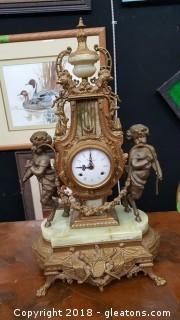 Imperial Brevettato Brass and Marble Franz Hermle Mantle Clock
