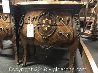 Marble Top End Table Night Stand (B)