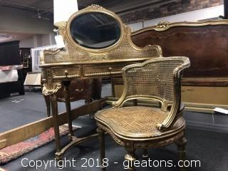 Vintage Gold Vanity Table and Seat
