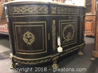 French Antique Buffet with Bronze Gild & Marble Top