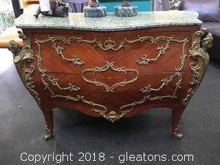 Bombe Chest With Marble Top French Brass Detail Vaneer