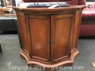 Wooden Accent Table With Lock Antique With Beautiful Interior