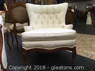 Antique French Provincial Tufted Accent Chair