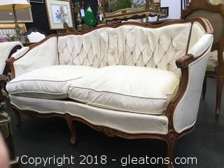 Antique Louis XV Sofa With Carved Wood Detail
