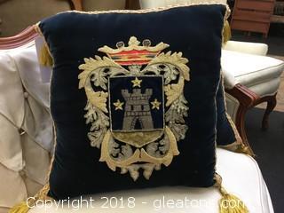 Royal Crest Applique Pillow (B)