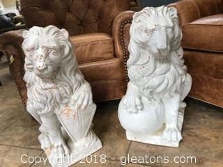 Pair Of Italian Glazed Lions