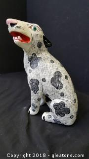 Wooden Hand Made/ Painted Desktop Dog Signed  Mexican