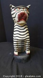 Folk Art Wood Cat Striped Hand Painted