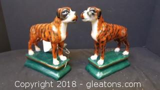 Pair of Boxer Book Ends Glass Hand Painted