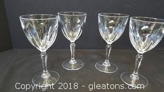 Set of (4) Crystal Wine Glasses