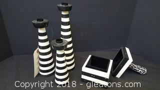Set of (3) Candle Stick Holders with Trinket Box
