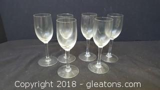 Cordial's Set of (6) Clear Glass