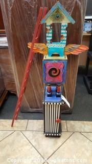 4 ft Whimsical Folk Art with Cabinet Base W/Ladder
