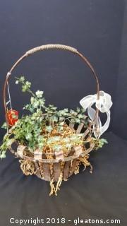 Metal Basket with Ivy Decorative