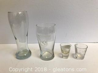 Lot of 2 Beer Glasses and 2 Shot Glasses