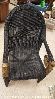 Black Wicker Chair with Cherubs Arm Caps