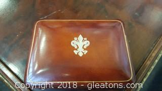 Vintage Italian Leather Trinket Box Made In Italy