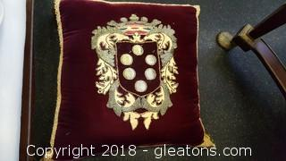 Royal Crest Applique Pillow Tassel Detail Beautiful Hand Stitched Wor