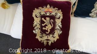 Royal Crest Applique Pillow Tassel Detail Beautiful Hand Stitched Work