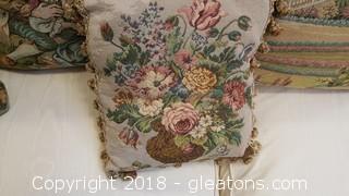 Vintage Tapestry Pillow 10x10 Tassel Edging