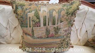 Tapestry Pillow Tassel Trimming Vintage