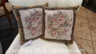 Pr. Of Vintage Tapestry Pillows