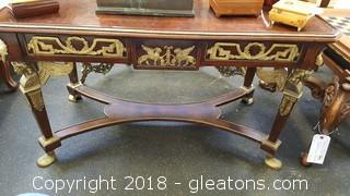 High End Used Antique French Provincial Louis XVI Style Coffee Table Brass Fitting Clawfoot Angels
