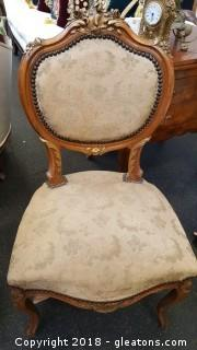 Pr. Of Venetian Style Chairs (B) Wooden/Hand Carved Gold Inlay Covered Chairs