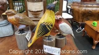 """""""Homart"""" Hand Crafted With Distressed Finish By: Artisans Wooden Bird Set Of (3)"""