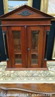Small Wooden Wall Display Cabinet Beveled Glass Carving Detail Real Wood