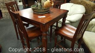 Farmhouse Countertop Height 4 Chairs Table