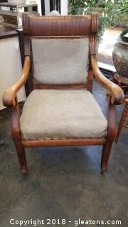 Nice Vintage Wooden/With Covered Back/Seat Chair With Casters