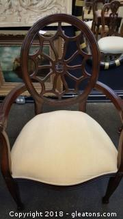 "Like ""New"" Armed Accent Chair Dark Wood Ornate Carved Arms"