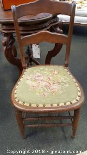 Antique Wood Chairs With Embroidery A