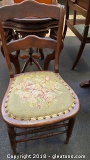 Antique Wood Chairs W/Embroidery B