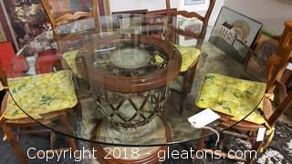 Designer Round Dining Table Gorgeous Glass Top and Pedestal Base