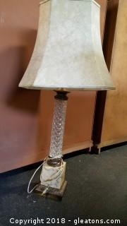 Antique Marble Brass/Base W/Crystal Stem And Shade 3ft.