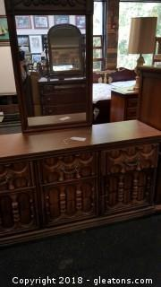 Solid Wood Dresser and Mirror Vintage