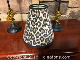 Pair Of Leopard Print Lamp Shades