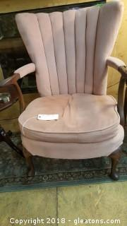 Antique Accent Chair Wood Arms + Legs